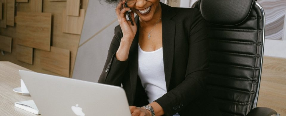 woman attending a large conference call