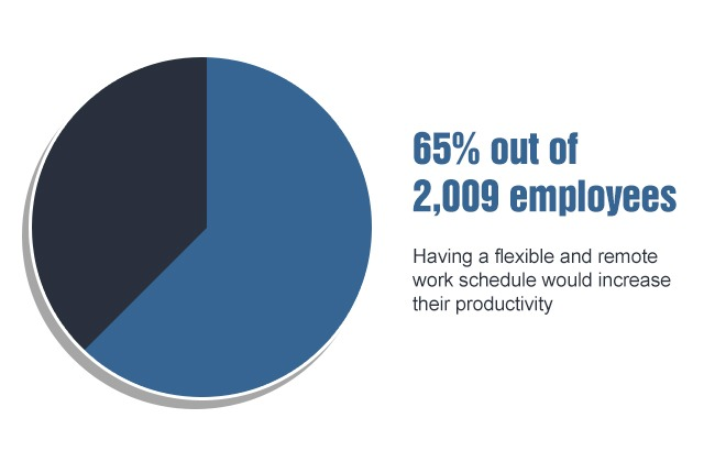 65% out of 2009 employees have flexible work hours which increases productivity