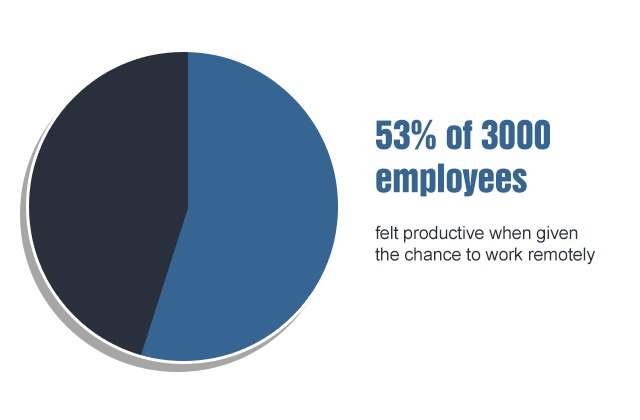 53% of 3000 remote work employees felt productive
