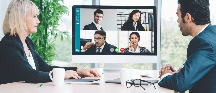 employees having a virtual conference